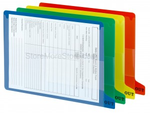 side tab vinyl out guides colored clear pockets file documents eliminate record searching filing system frustration