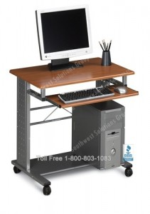 home office computer cart laptop mobile workstation compact rolling desk