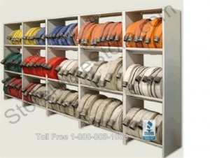 firehose storage shelf fir hose shelves rack racks fire hose vertical shelving station department
