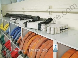 firehose storage shelf shelves rack racks fire hose vertical shelving station department