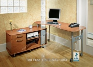 Mobile Desk Workstation Home Office Furniture Folding Wheeled Desks