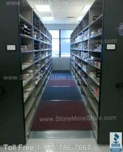 used compact warehouse shelving storage movable aisle supply shelves