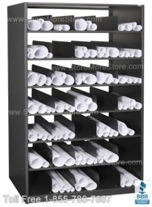 Efficient rolled poster storage with poster cubby shelving and rolled print racks