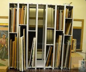 Storing framed artwork in Ajustable Art Storage Shelves