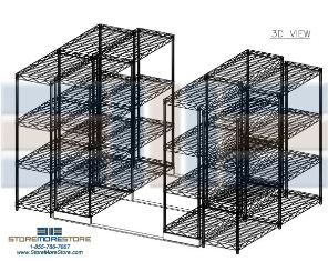Drawing of Sliding Wire Shelves