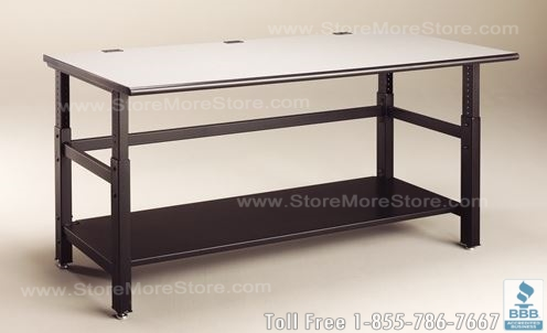 adjustable work bench for use in auto dealerships and repair shops