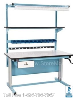 Ergonomic Automotive Storage with Adjustable Workbenches