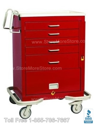 red mobile anesthesia carts with side handles