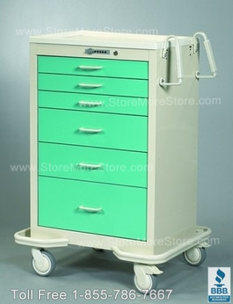 mobile anesthesia carts with green fronts