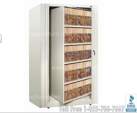 Rotary File Cabinets spin to provide lockable double sided storage