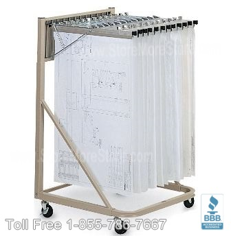 Hanging Plan Drawing Racks can be rolled on carts