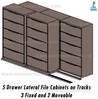 3 fixed and two mobile lateral filing cabinets slide on rails