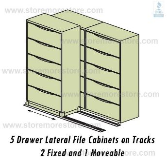 sliding lateral file cabinets on tracks with 2 fixed and 1 mobile