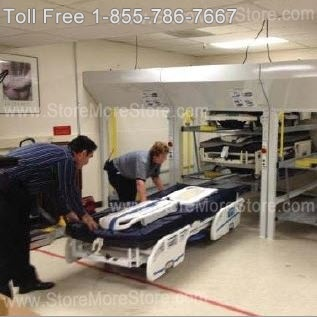 loading hospital beds into vertical bed stackers is easy