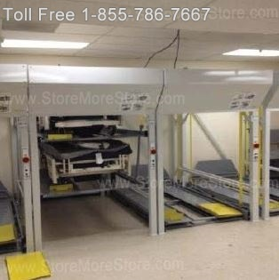 vertical bed-stackers provide high-capacity hospital bed storage