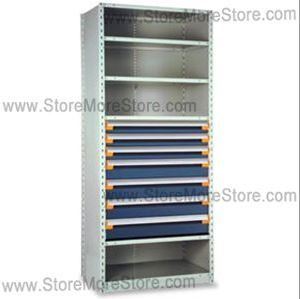 heavy duty drawers are housed in industrial shelving