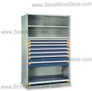 store all sizes of parts in industrial shelving with heavy duty drawers