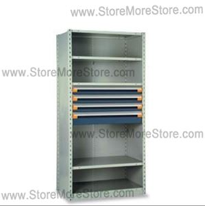 parts storage shelves have ergonomically positioned drawers