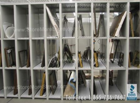 storing museum and gallery collections in adjustable art shelving