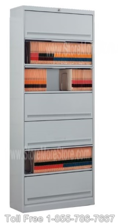 secure stored items in flipper door stationary shelving