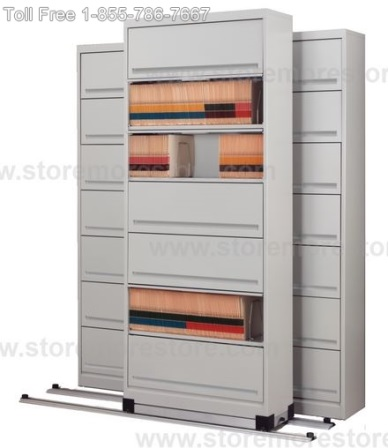 save space and secure stored items in high density sliding door shelves