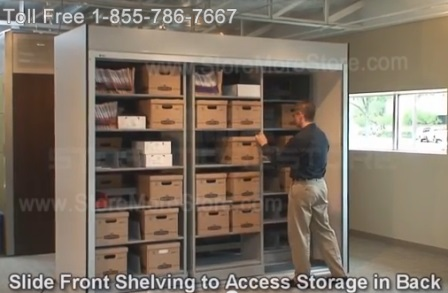 Sliding Mobile Shelving Storing Boxes and Files