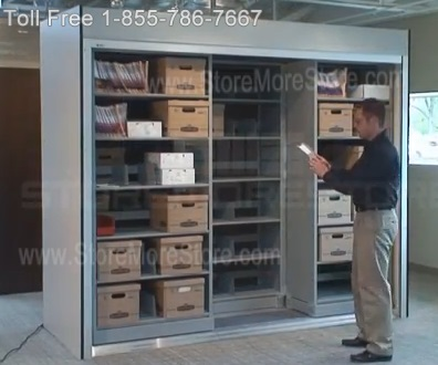 Sliding Mobile Shelving with Remote Controlled Security Doors