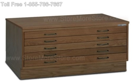 Dark Wood Flat File Drawer Cabinet