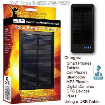 Portable Solar Battery Charger works with Smart Phones Tablets Mp3 Players and More