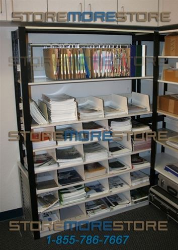 Oblique Shelf Organizer in Open Shelving