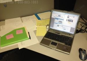 unorganized files on a desk