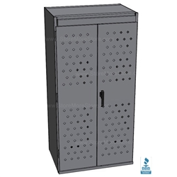 police gear lockers with closed doors