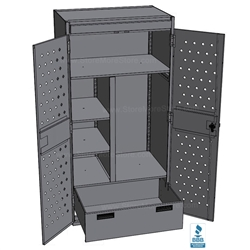 police gear lockers with doors and drawers open
