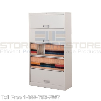 Flipper Door File Cabinets with Color-Coded End Tab Files