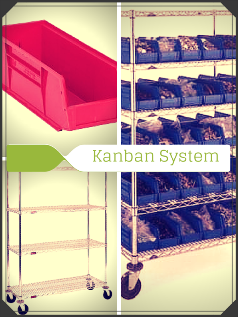 Kanban System Storing Nursing Supplies with Wire Shelving Carts and Plastic Bins
