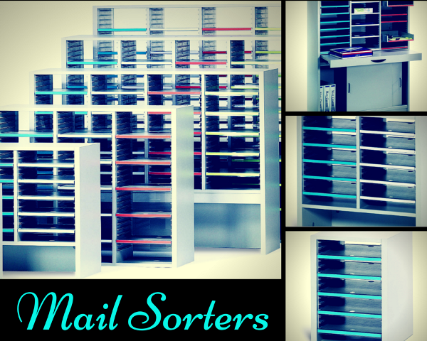 all sizes and shapes of mail sorters with adjustable shelves