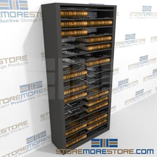 roller shelves for storing docket books