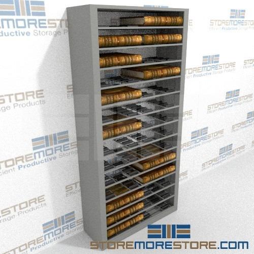storing deed books in roller shelves