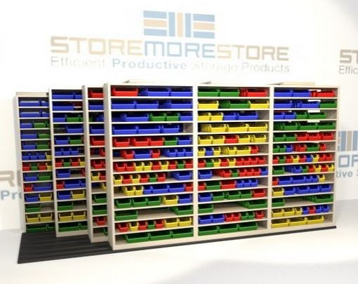 organize small parts sliding bin shelving