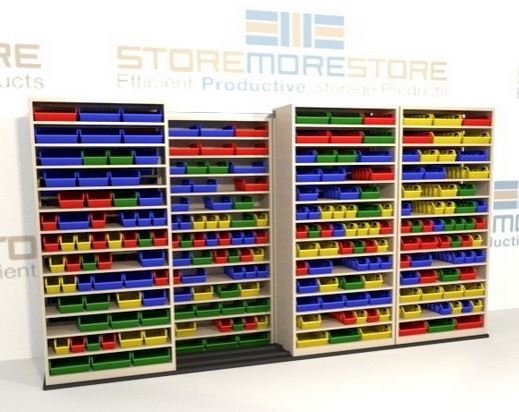sliding bin shelving 2 rows