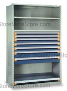 industrial shelving with drawers for small parts and tool storage