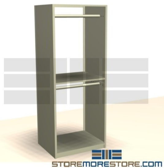 two level freestanding hanging garment rack for business storage