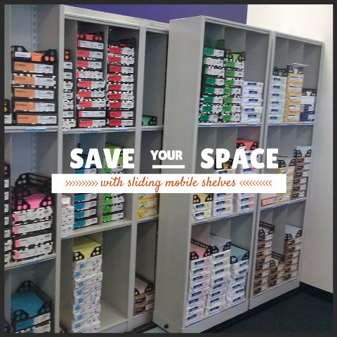 sliding mobile shelves save office storage space