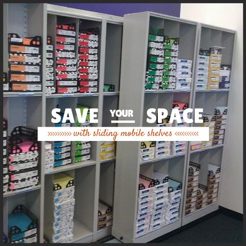 sliding mobile shelves save office storage space