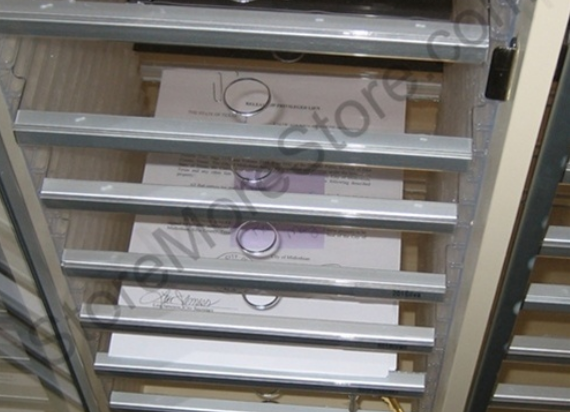 transparent clear mailroom sorter shelves