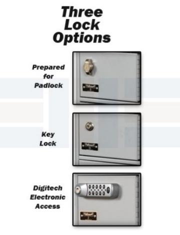 mini locker's three lock options for secure storage
