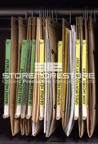 color-coded category paper filing system