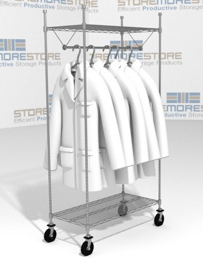 lab coats hanging on rolling garment storage racks