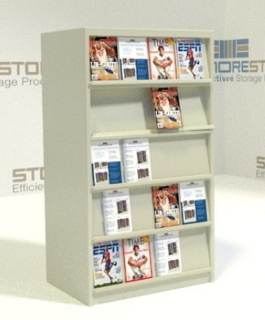 literature display shelving for library periodicals