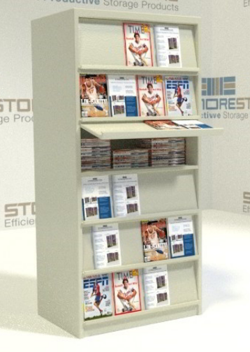 literature shelving with hinged display shelf for past issues
